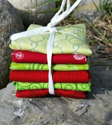 Blomstrende fikus - 6 stk forskjellige stoffer i Rød og Lime