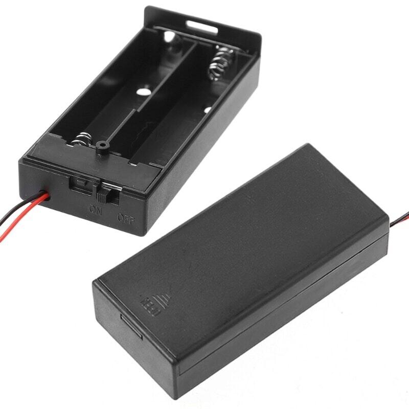 Box черный с проводами для 2*18650 3,7 В  вкл/выкл