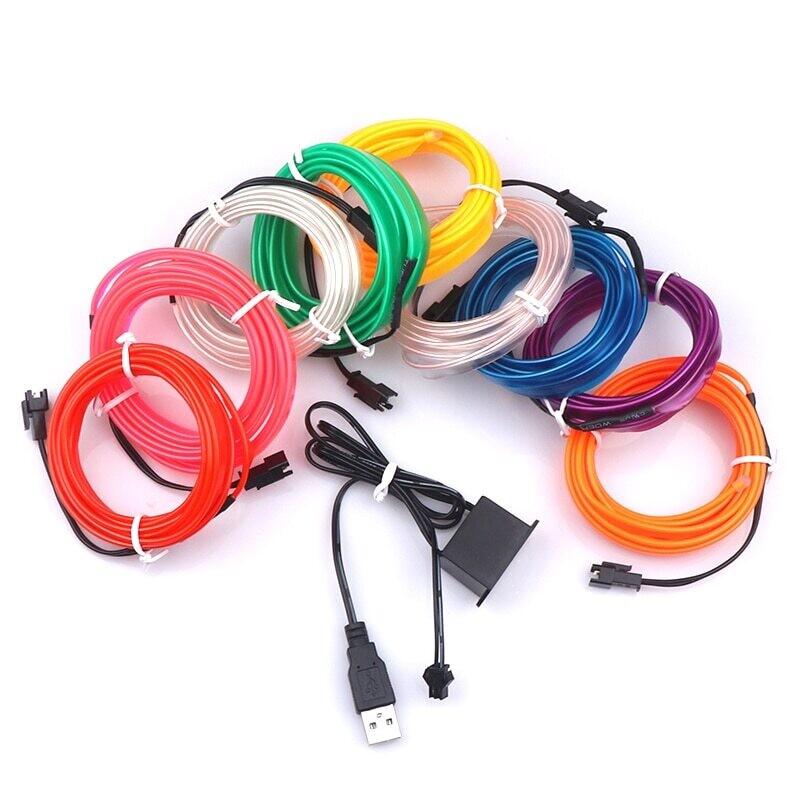 Гибкий неоновый кабель 5м,USB водонепроницаемый(гол,зел,крас)
