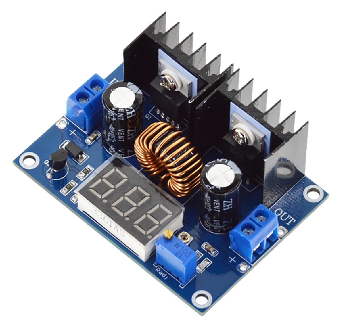 Преобразователь понижающий 200Вт, 4-36В до1,25-36В, 8А, XL4016, с вольтметром