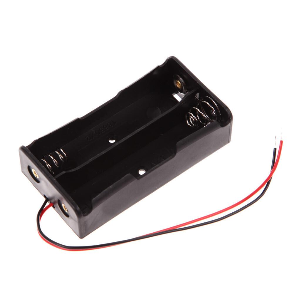 Box черный с проводами для 2*18650 3,7 В