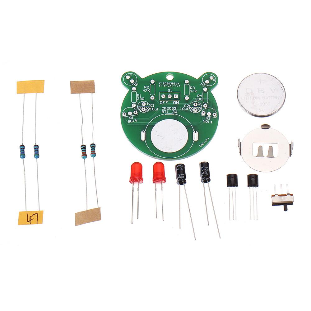 DIY Электронный набор, светодиодный светильник-вспышка с изображением медведя