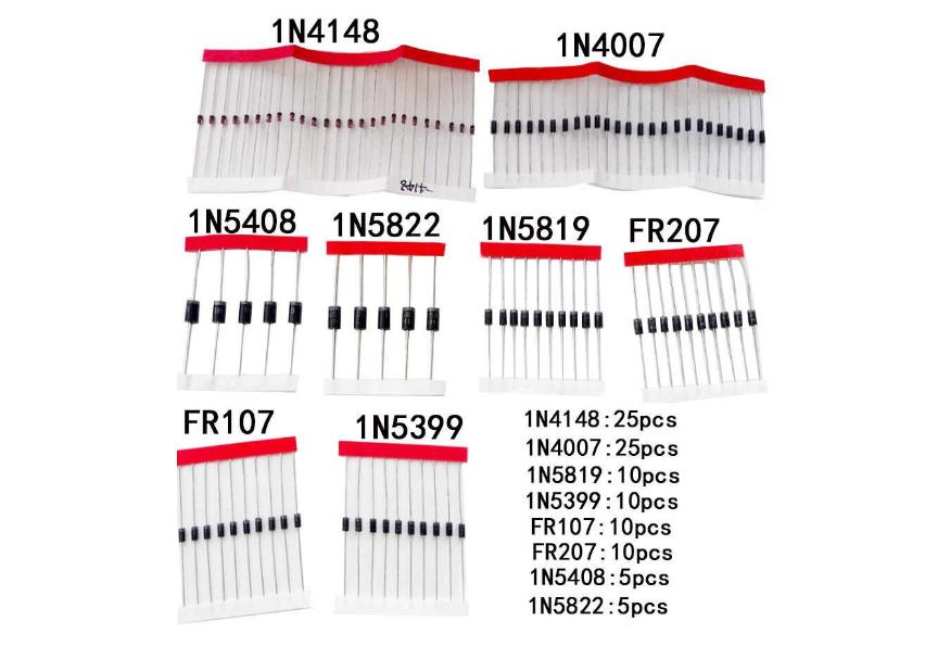Набор диодов Schottky 1N4148/1N4007/1N5819/1N5399/1N5408/1N5822/FR107/FR207,8 видов = 100 шт