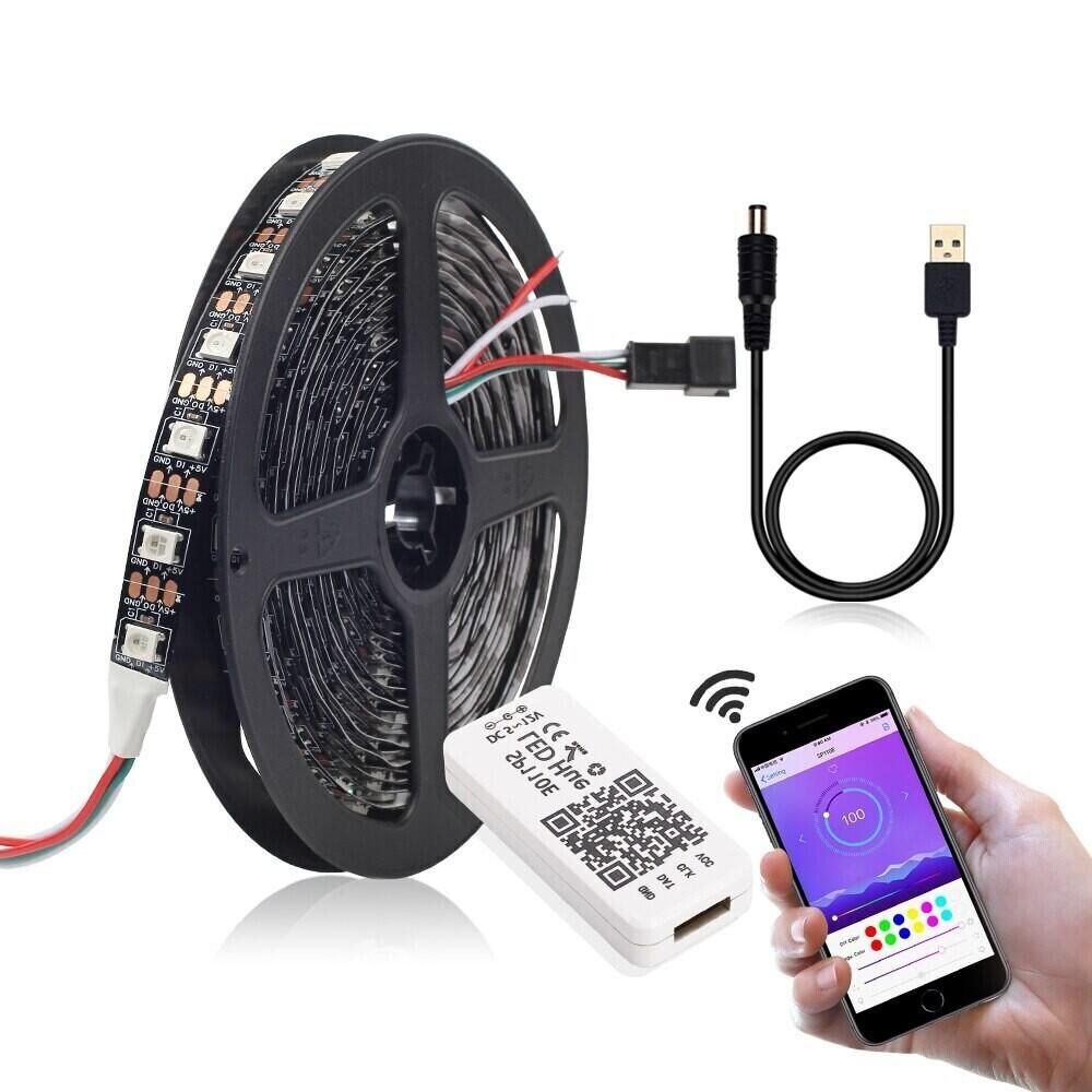 Светодиодная лента с чипом WS2812B, 60led/RGB, IP30, DC5V, 3м,SP110E Bluetooth контроллер