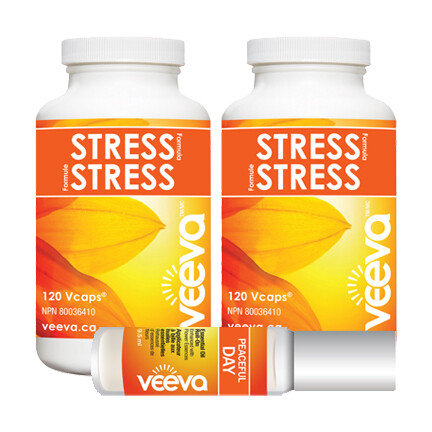 NEW! Stress Formula 120 Vcaps DUO PACK with BONUS Roll-On