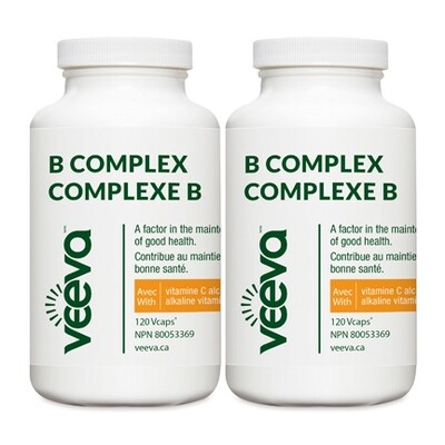 NEW B Complex with Alkaline C 120 Vcaps DUO PACK