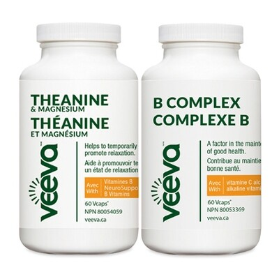 Theanine & Magnesium and B Complex 60 Vcaps DUO PACK