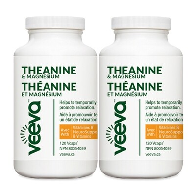 NEW Theanine & Magnesium with NeuroSupport B Vitamins 120 Vcaps DUO PACK