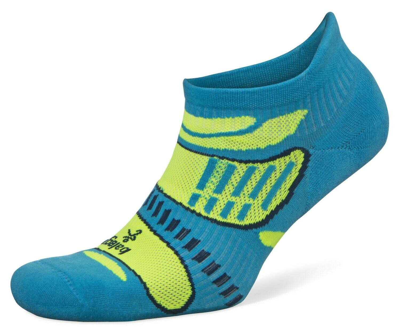 Ultra Light No Show Technical Running Sock - Blue/Lime