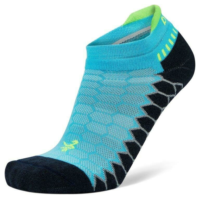 Silver Antimicrobial NoShow Compression Fit Running Socks Aqualine/Charcoal