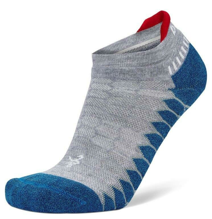 Silver Antimicrobial NoShow Compression Fit Running Socks Bright MidGrey/ Denim