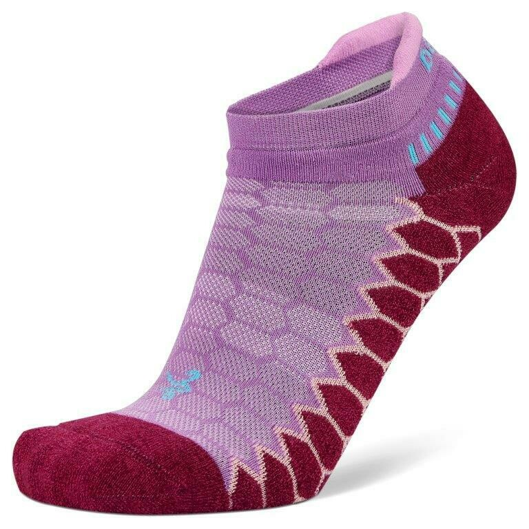 Silver Antimicrobial NoShow Compression Fit Running Socks Bright Bright Lilac/Wildberry