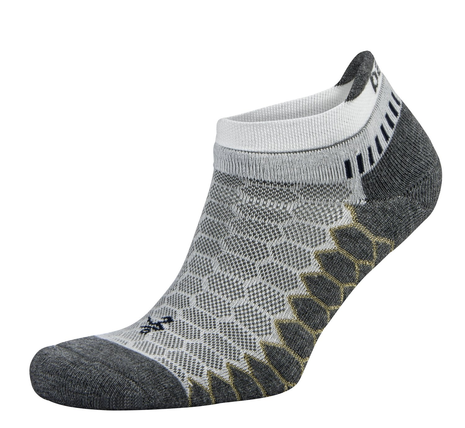 Silver Antimicrobial NoShow Compression Fit Running Socks White/Grey