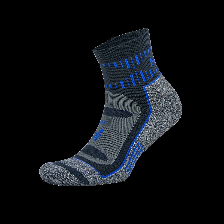 Blister Resist Quarter Running Sock: Ink/Cobalt