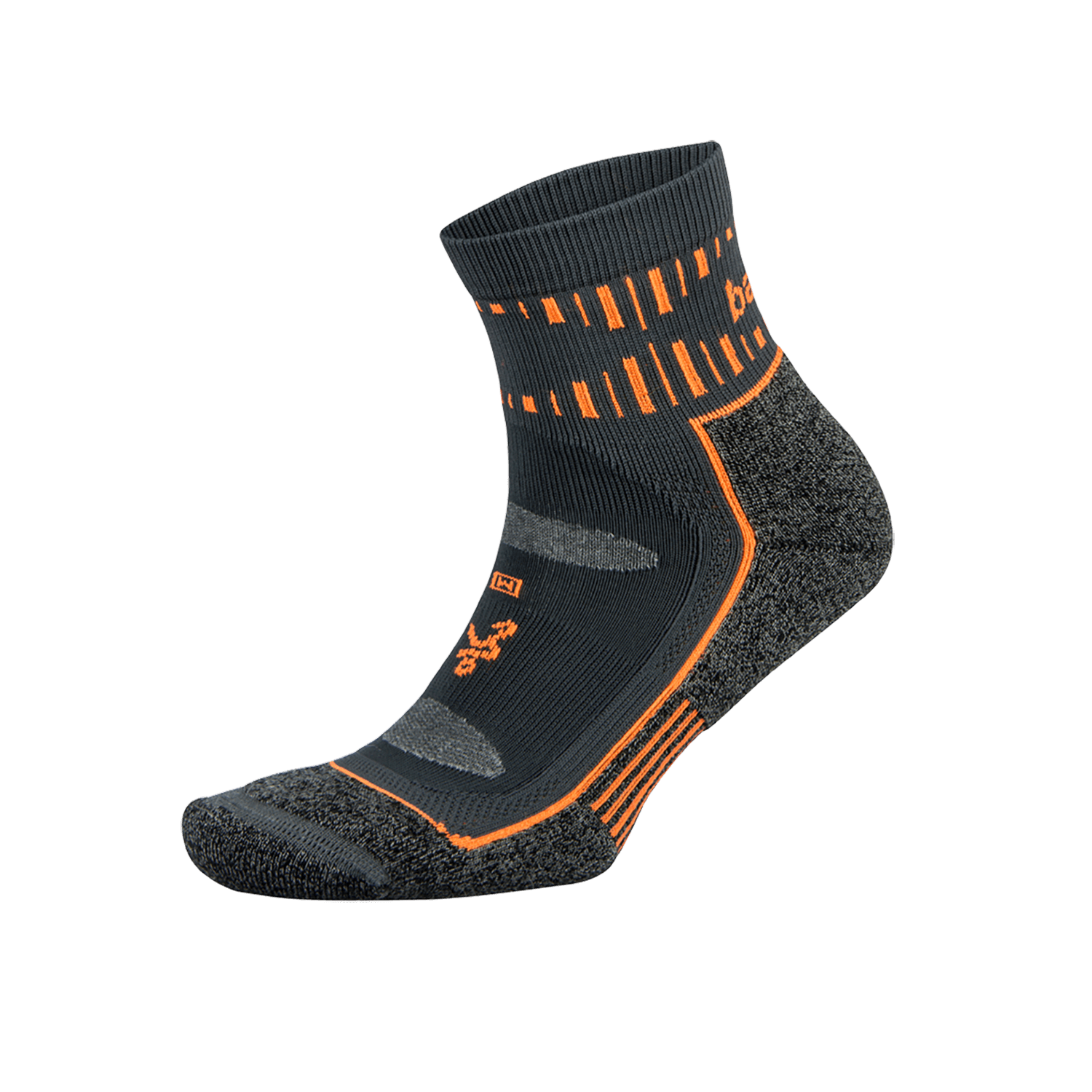 Blister Resist Quarter Running Sock: Grey/Orange