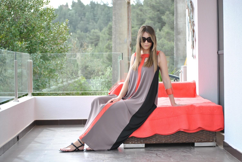 Vestido Comprido Jersey Tricolor