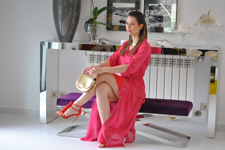 vestido duplo em chifon bicolor preço inicial 147€