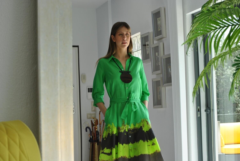 Vestido Camiseiro em Algodão - Barra Estampada