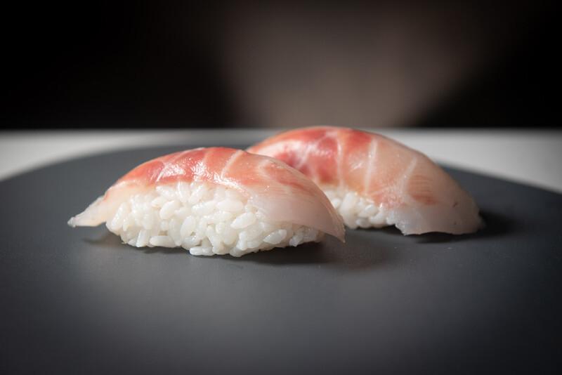 Sea bass nigiri (2 pieces)