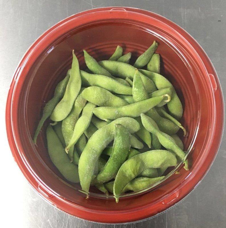 Edamame beans with crushed sea salt