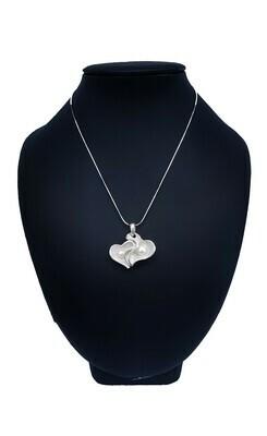 Dupla szíves medál - édesvízi tenyésztett gyöngy