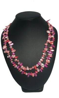 Rózsaszín-lila-lazac barokk nyaklánc- édesvízi igazgyöngy