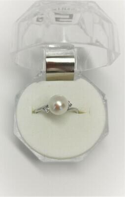 Rome - fehérarany gyémánt-gyöngy gyűrű