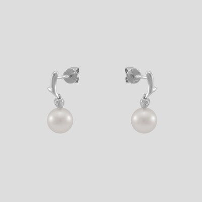 Rome - fehérarany gyémánt-gyöngy fülbevaló
