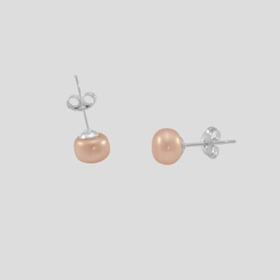 Rózsaszín bogyós fülbevaló  - édesvízi igazgyöngy