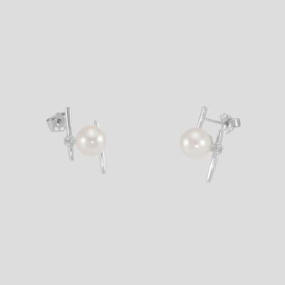 Modern gyémánt - akoya gyöngy fülbevaló