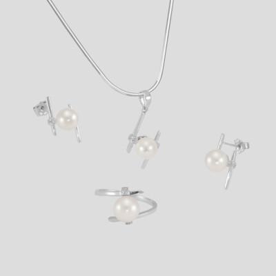 Modern gyémánt - akoya gyöngy ékszer szett