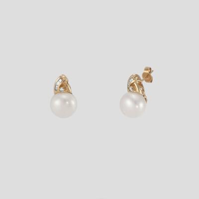 Marilyn - sárgaarany gyémánt-gyöngy fülbevaló
