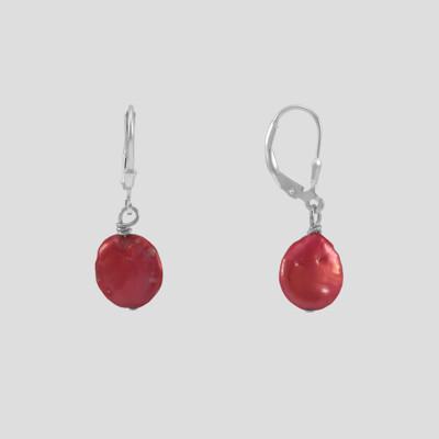 Piros ezüst fülbevaló - édesvízi igazgyöngy