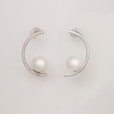 Félhold ezüst fülbevaló - tenyésztett gyöngy