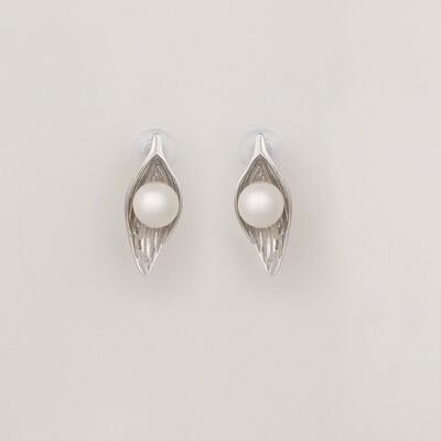 Leveles ezüst fülbevaló - tenyésztett gyöngy