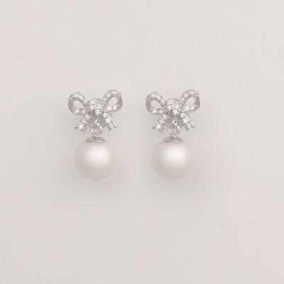 Masnis ezüst fülbevaló - tenyésztett gyöngy