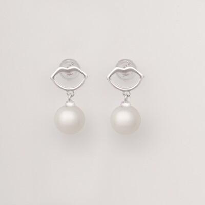 Száj alakú ezüst fülbevaló - tenyésztett gyöngy