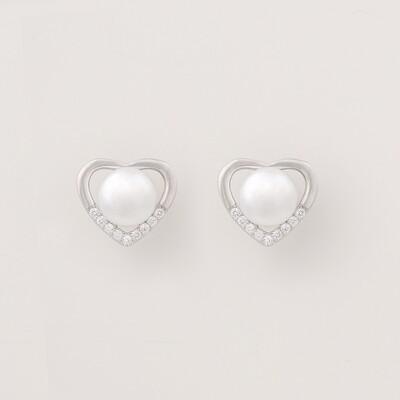 Szív alakú ezüst fülbevaló - tenyésztett gyöngy