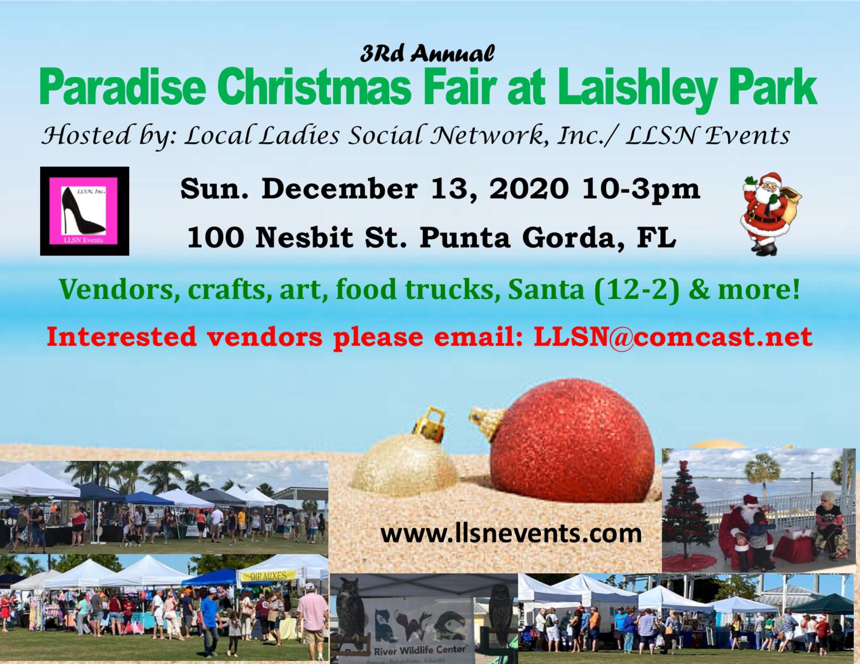3rd Annual Paradise Christmas Fair at Laishley Park- Dec 13th 2020