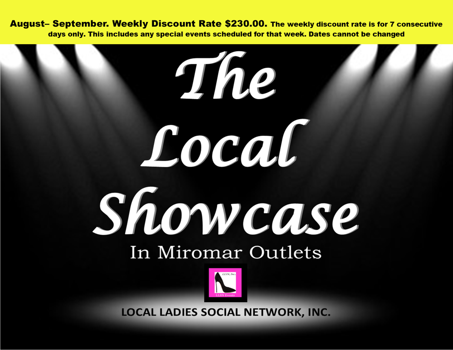 Weekly Discount-August - Sept. Only Approved Vendors may use this payment method for The Local Showcase in Miromar Outlets. Interested vendors please email: LLSN@comcast.net for approval.