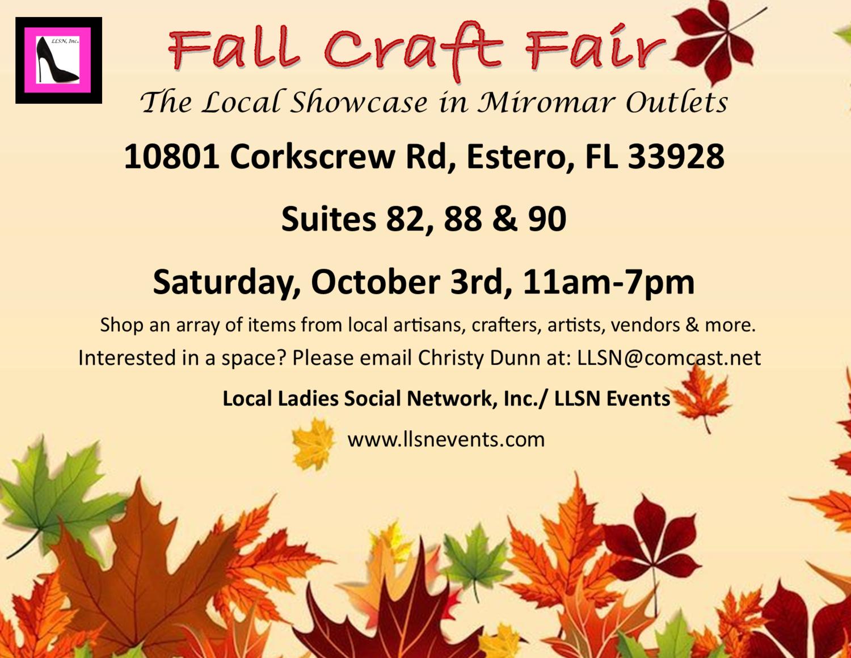 Fall Craft Fair-Saturday, October 3rd, 11am-7pm.