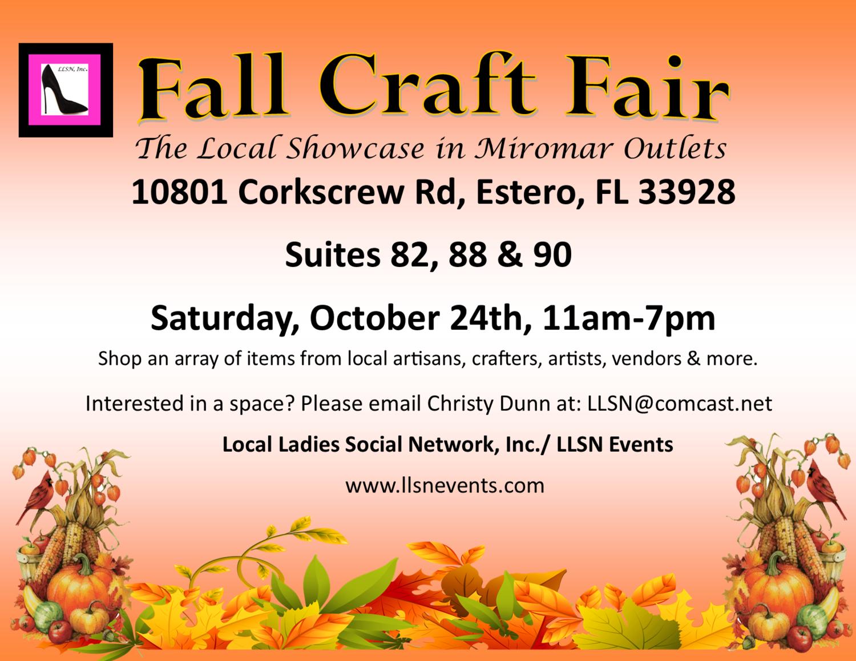 Fall Craft Fair- Saturday, October 24th, 11am-7pm.