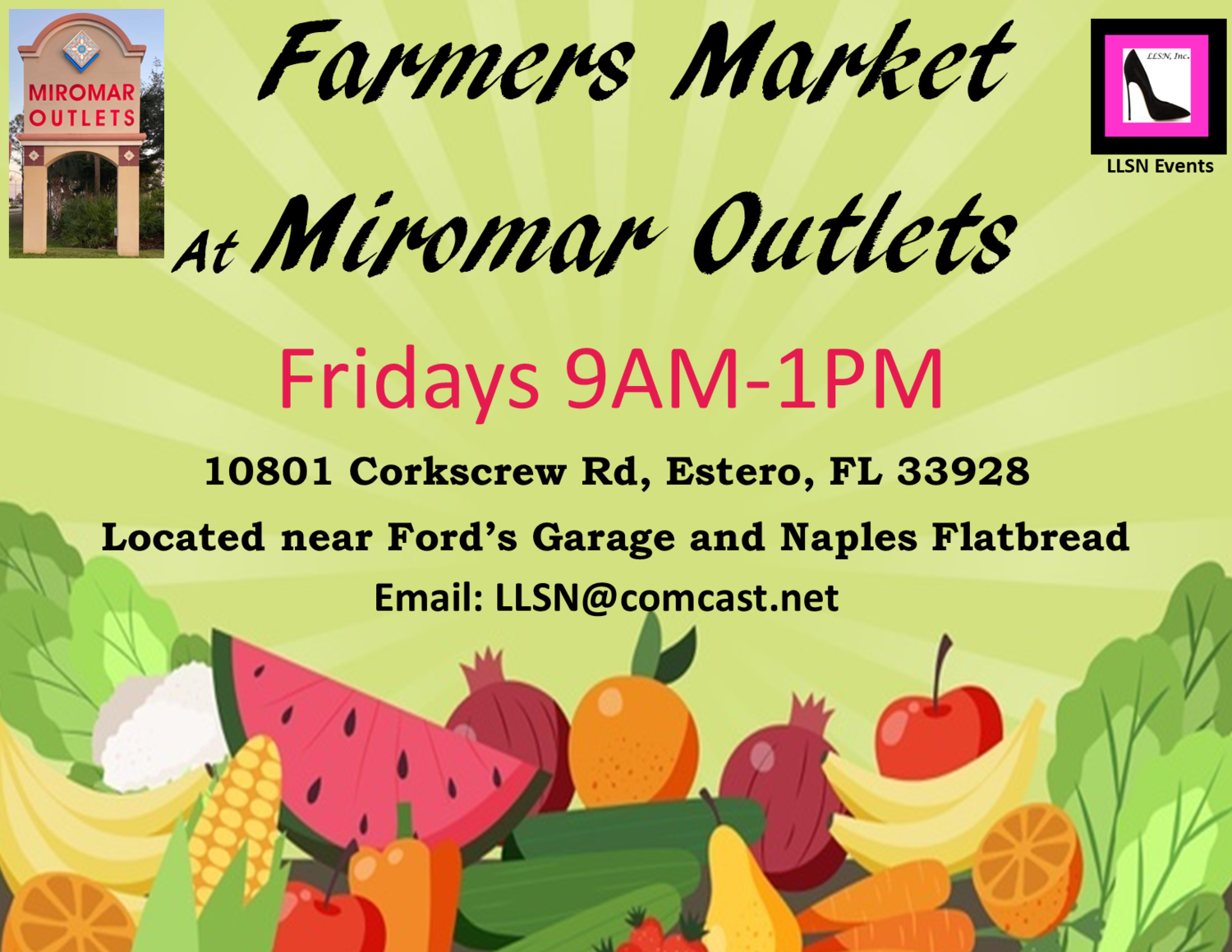 Only Approved Vendors Can Use This Payment Method For The Farmers Market at Miromar Outlets. (5 weeks in October.)