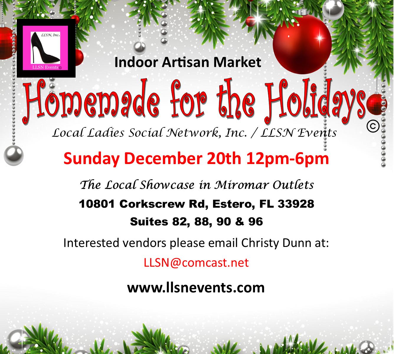 Handmade For The Holidays-Artisan Market Sun, Dec. 20th 12pm-6pm