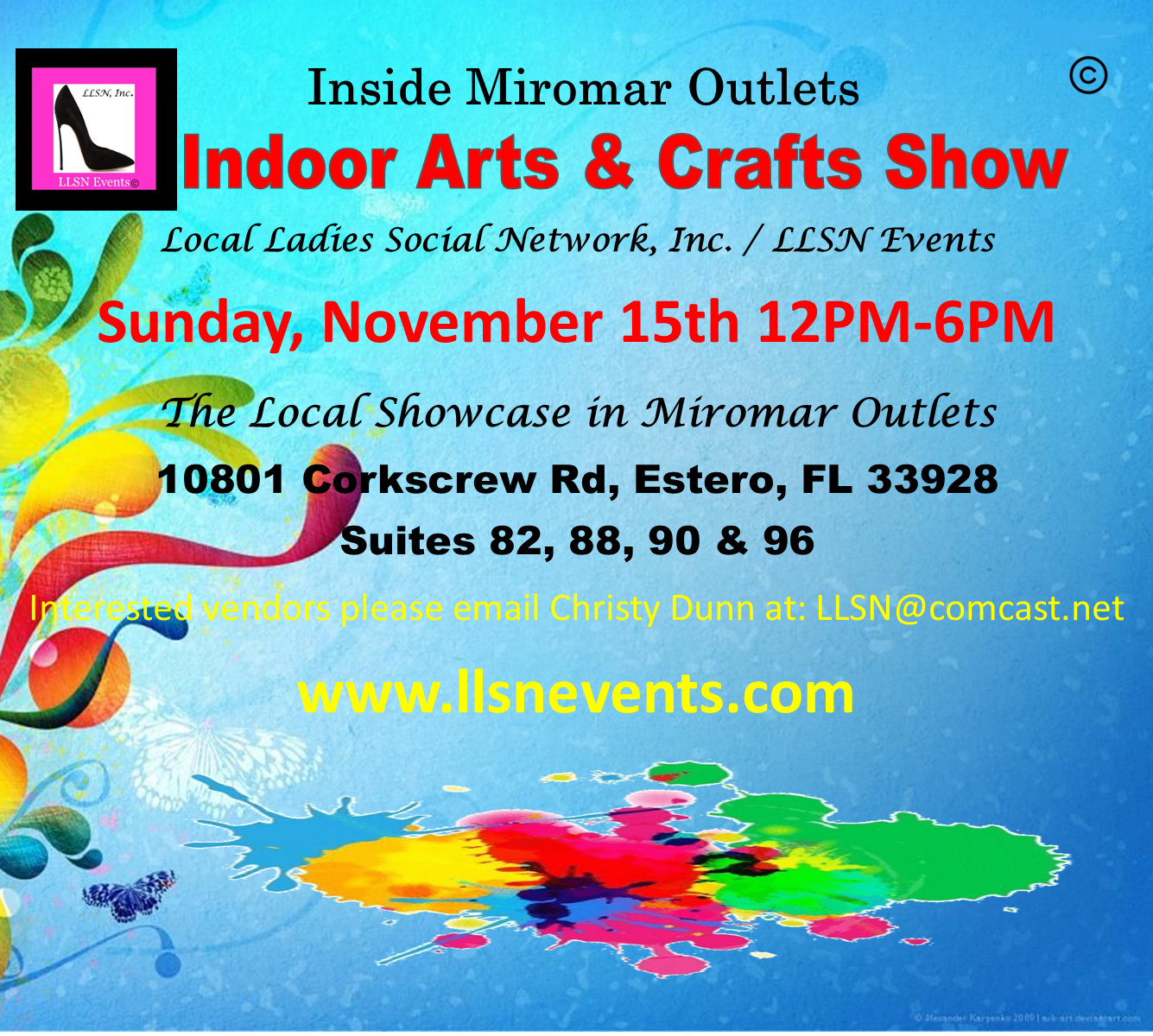 Indoor Arts & Crafts Show- Sunday, November 15th 12pm-6pm.
