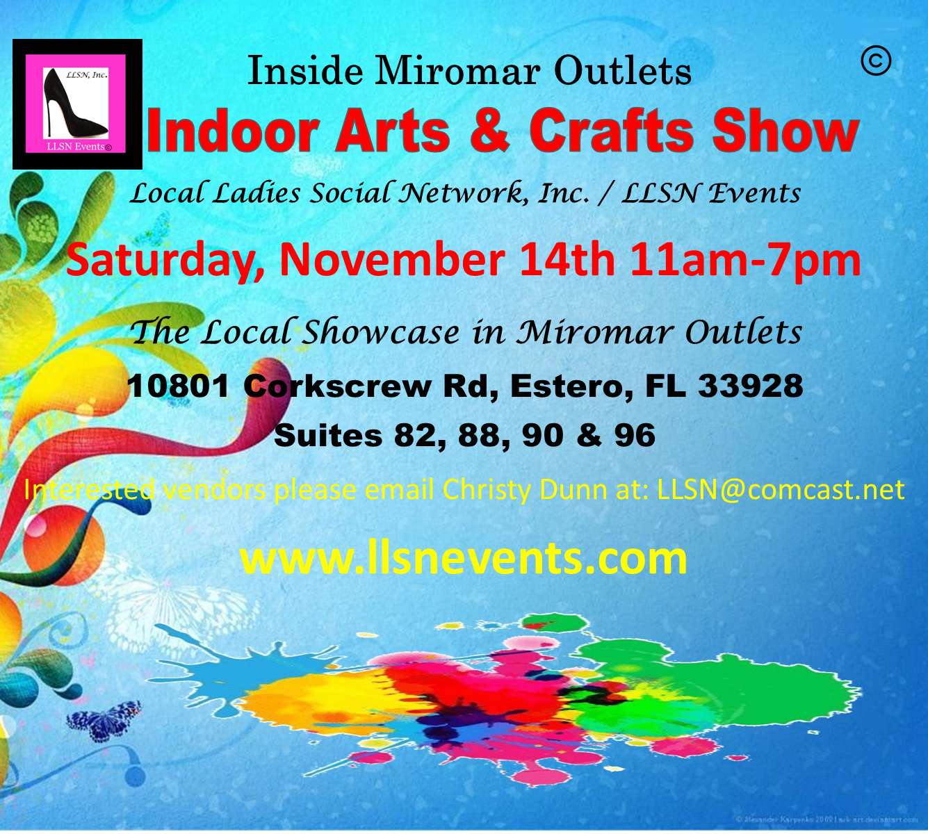 Indoor Arts & Crafts Show- Saturday, November 14th 11am-7pm.