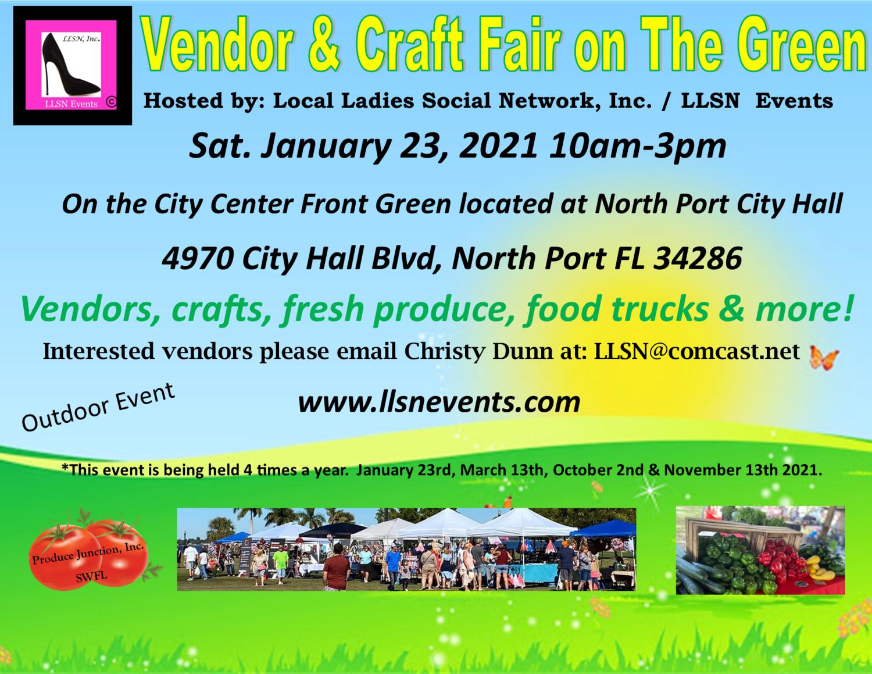 Vendor & Craft Fair on The Green January 23rd- North Port