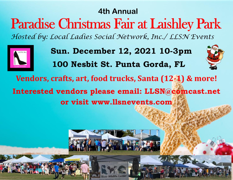 4th Annual Paradise Christmas Fair at Laishley Park- Dec 12th 2021