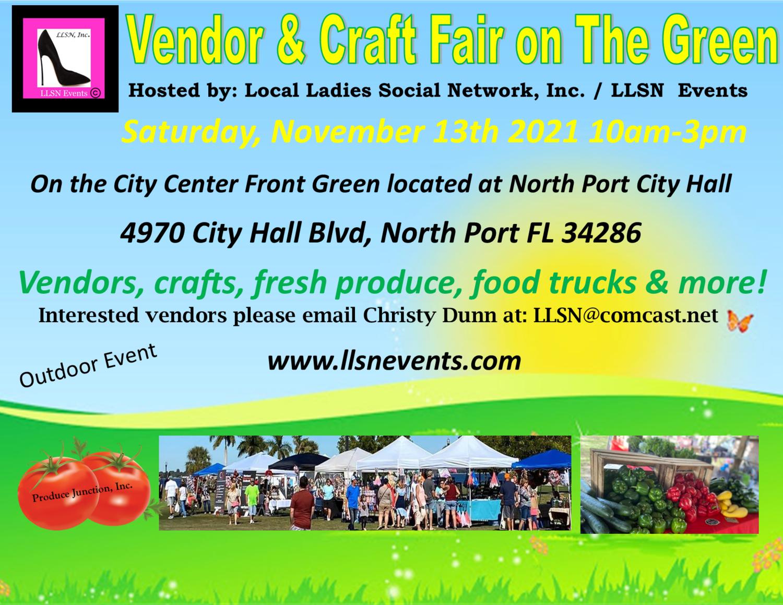 Vendor & Craft Fair on The Green November 13th 2021- North Port