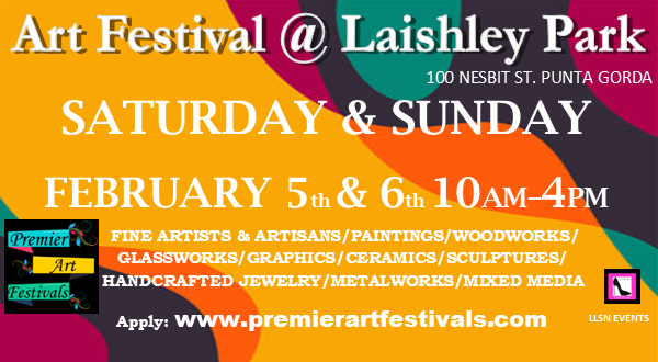 2 DAY Art Festival at Laishley Park. MUST APPLY AND RECEIVE ACCEPTANCE BEFORE PURCHASING. Apply online at www.premierartfestivals.com